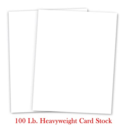 White Cardstock - For School Supplies, Kids Art & Crafts, Invitations, Business Card Printing | Extra Thick 100 lb Card Stock, 8.5 x 11 inch, Heavy Weight ...