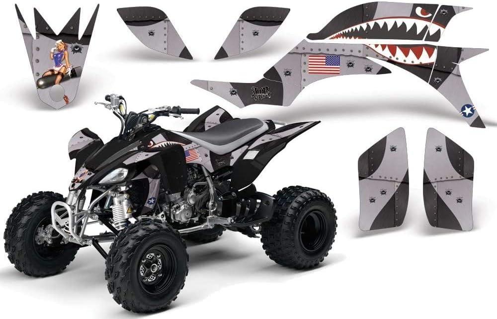 AMR Racing ATV Graphics kit Sticker Decal Compatible with Yamaha YFZ450 2004-2013 P-40 Warhawk Black