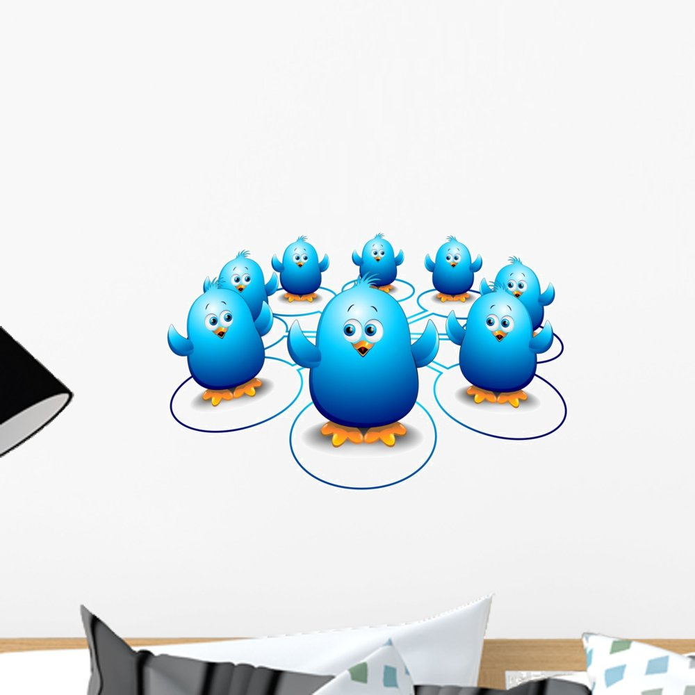 Wallmonkeys Chicks Birds Social Network Wall Decal Peel and Stick Graphic (18 in W x 13 in H) WM74874