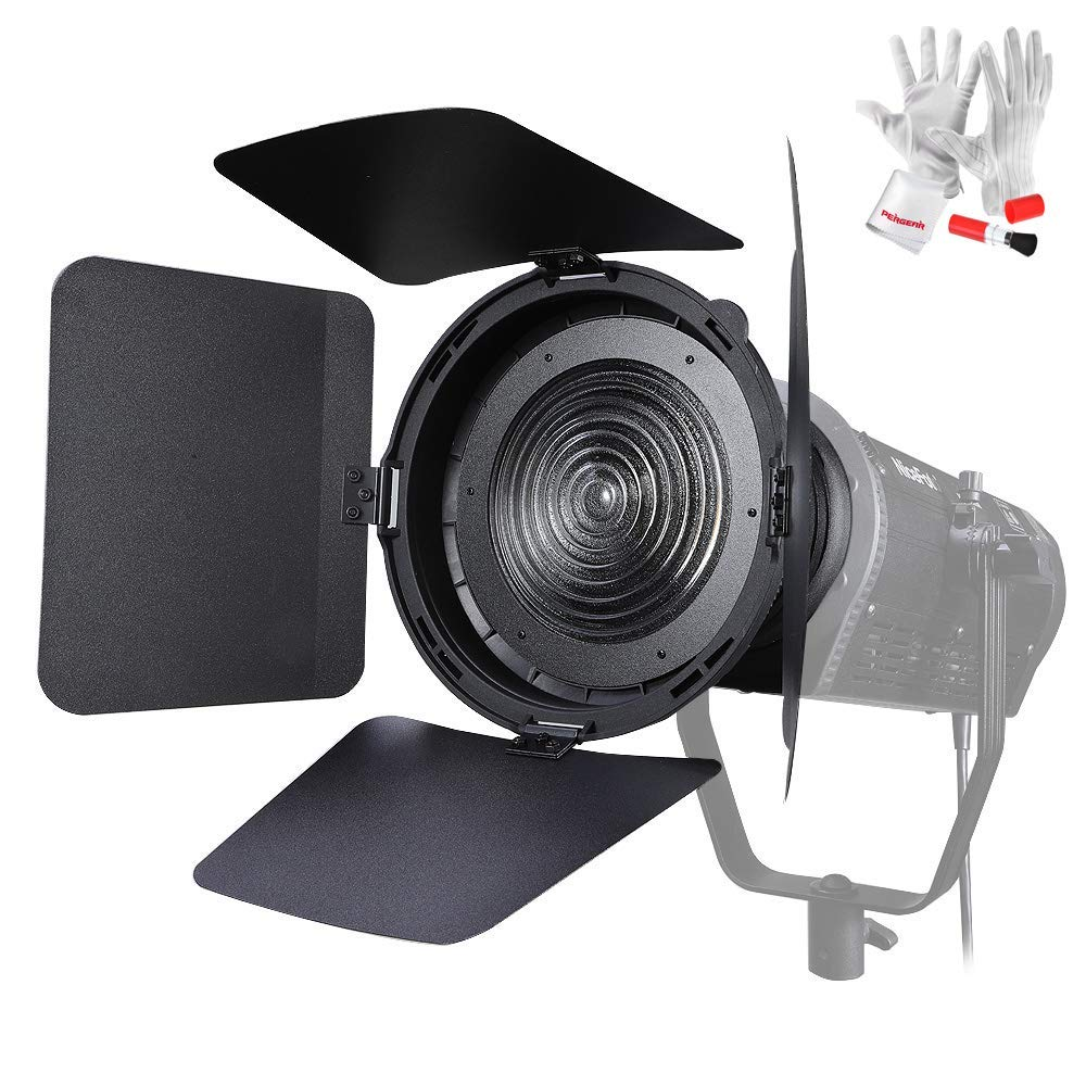 NiceFoto Barndoors FD-110 Fresnel Lens Focusing Adjuster Floodlight 45° Spotlight 17° with Lights Honeycomb Grids Barn Doors for Aputure 120D Mark 2 300D 120D LS C300D and Other Bowen-S Mount Continuo by PERGEAR