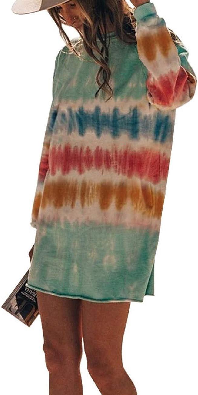 Pkouocry Women/'s Casual Tie Dye Dress Crew Neck Long Sleeve Loose T Shirt Mini Dress Summer Shift Dress
