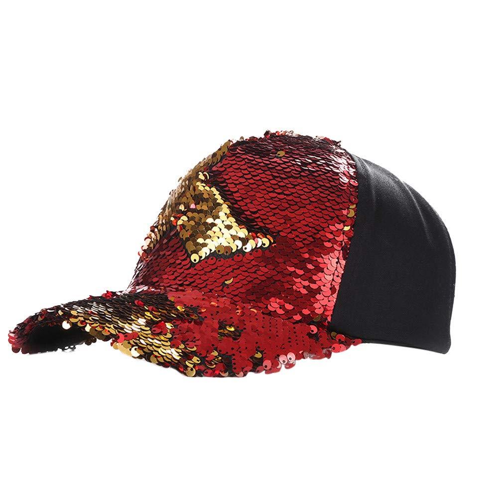 JPOQW Men Women Hats Double Color Mermaid Sequins DIY Adjustable Baseball Cap (Red)