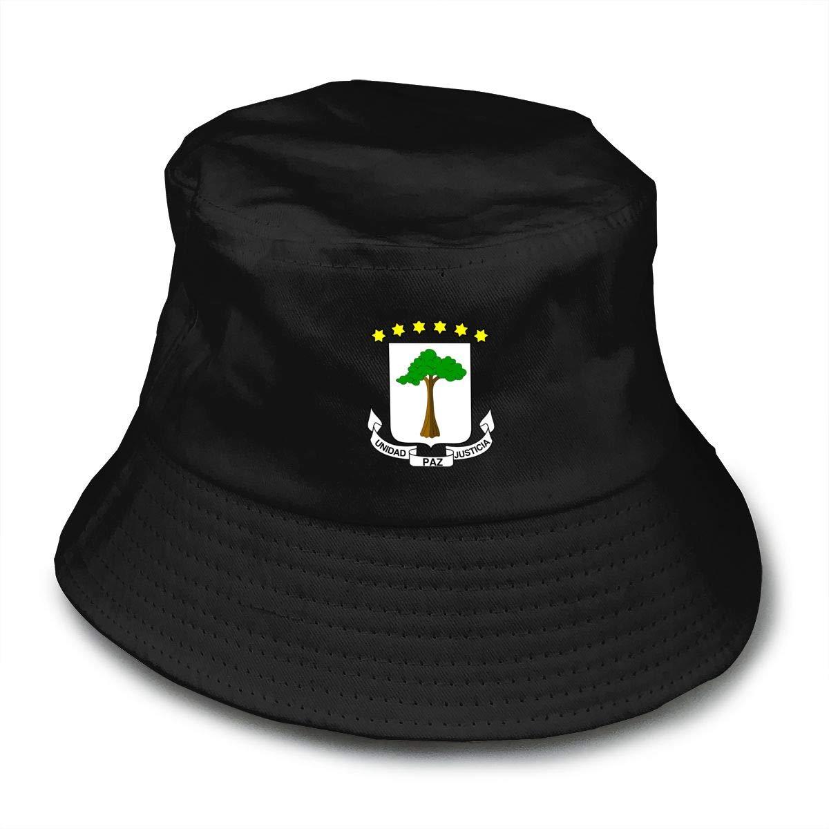 NDFGR Coat of Arms Equatorial Guinea Flag Unisex Cotton Packable Black Travel Bucket Hat Fishing Cap