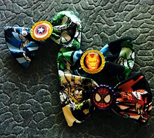 Super Hair Hero Bow - Marvel Comics fabric hair bow with bottle cap center, super hero hair bow, disneybound, party fabors, stocking stuffers capatin america, holk, thor spider man