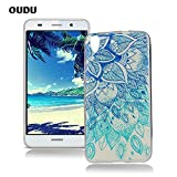 OuDu Silicone Case for Huawei Y6 Soft TPU Rubber Cover Flexible Slim Case Smooth Lightweight Skin Ultra Thin Shell Creative Design Cover - Blue Lotus