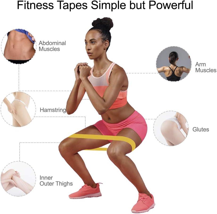 BKSDMAN Gomas el/ásticas musculacion Bandas elasticas Cintas elasticas Fitness 5 Tipos de Fuerza adecuados para la construcci/ón Muscular Pilates Yoga