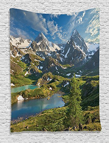 Ambesonne Cottage Decor Collection, Siberia Altai Mountains Katun Ridge High Snowy Peaks with Skirts Grass Covered View, Bedroom Living Room Dorm Wall Hanging Tapestry, Green Blue (Blue Ridge Mountain Blend)