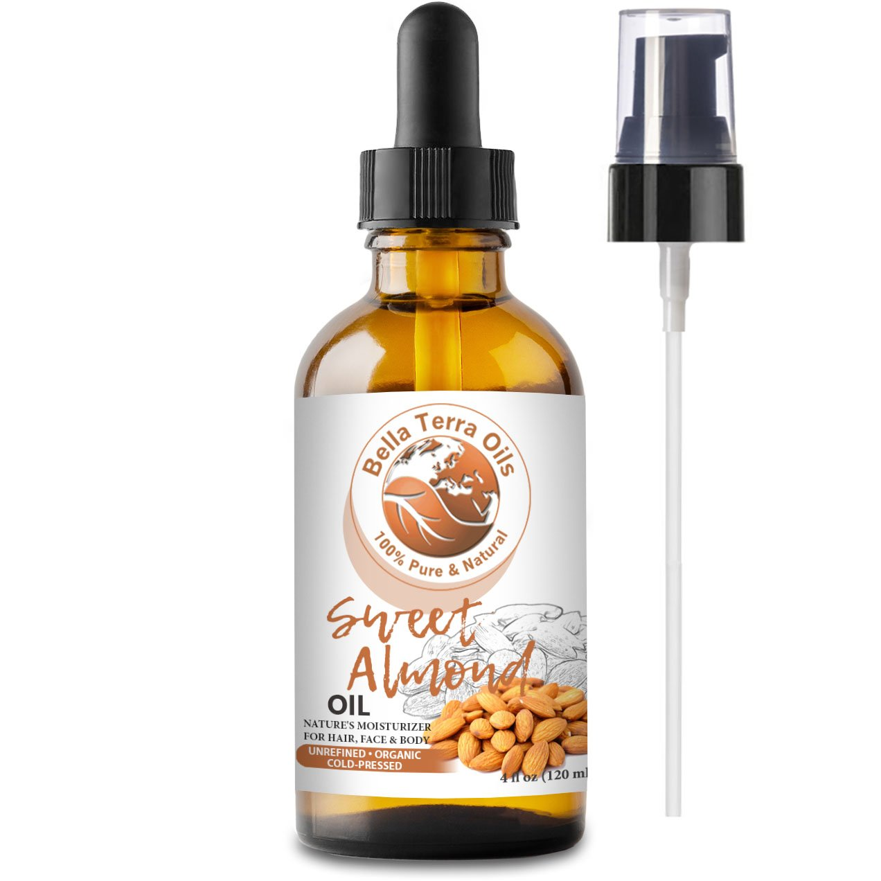 NEW Sweet Almond Oil. 4oz. Cold-pressed. Unrefined. Organic. 100% Pure. Pasteurized. Hexane-free. Fights Wrinkles. Softens Hair. Natural Moisturizer. For Hair, Face, Body, Nails, Beard, Stretch Marks.