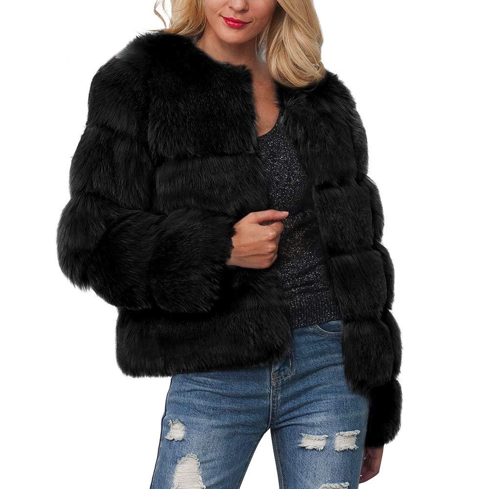 PENGYGY Women Ladies Warm Coat Faux Fur Jacket Solid Gradient Winter Parka Outerwear Fashion