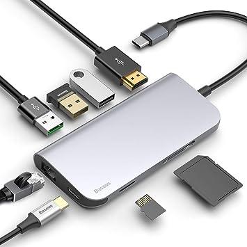 Amazon.com: Baseus USB C Hub, 8 en 1 USB Type-C Hub ...