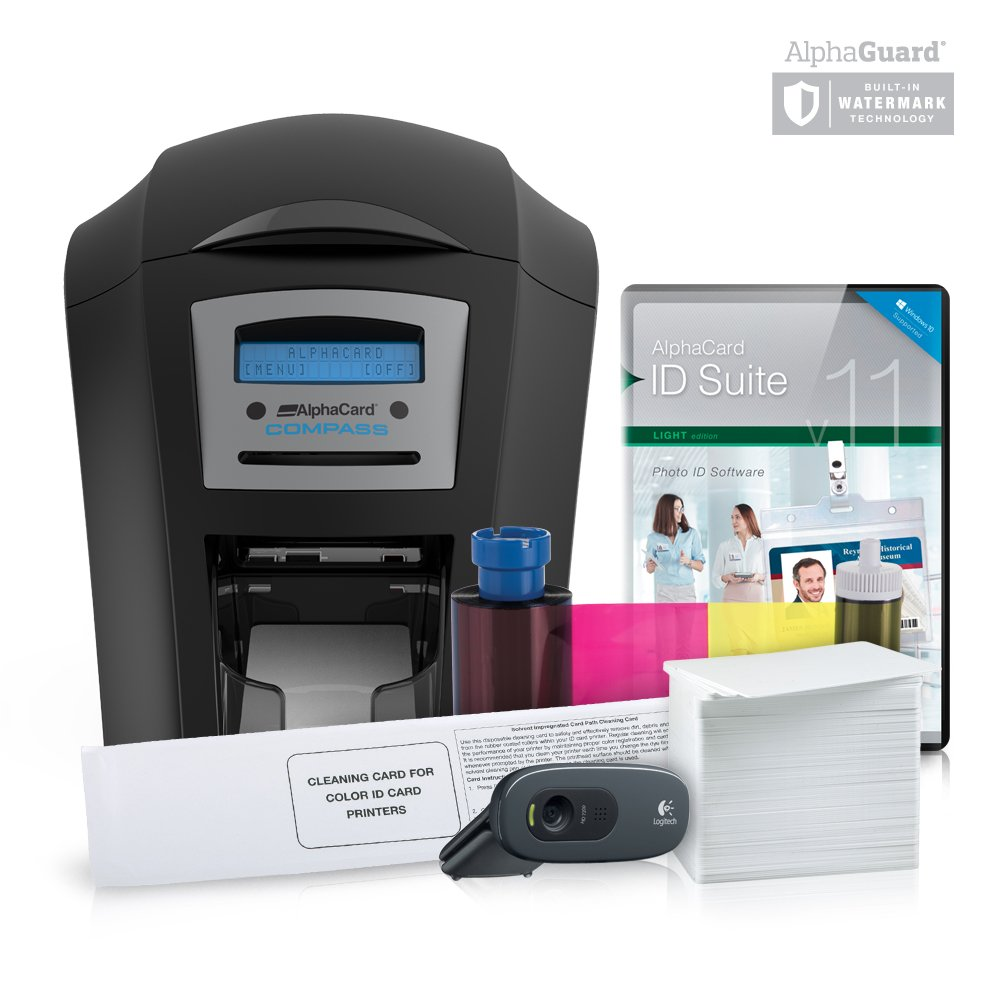 AlphaCard Compass Complete Photo ID Card Printer System with AlphaCard ID Software (Complete Bundle for PCs, One-Sided Printer) by AlphaCard (Image #1)