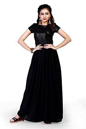 ee1fe98ec81a Royal Export Women s A-Line Knee-Long Dress (sequencce Gown Black Free)