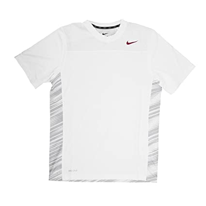 58c39da3 Image Unavailable. Image not available for. Color: Nike Dri-Fit Men's Short  Sleeve White Print/Maroon Logo Training Shirt - Medium