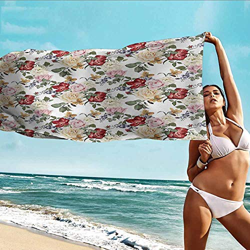 Antonia Reed Custom Towels for Adults Shabby Chic,Summer Spring Season Buds Roses Lilacs Flowers Leaves Print,Light Pink Green Cream and Red,Suitable for Home,Travel,Swimming Use 32