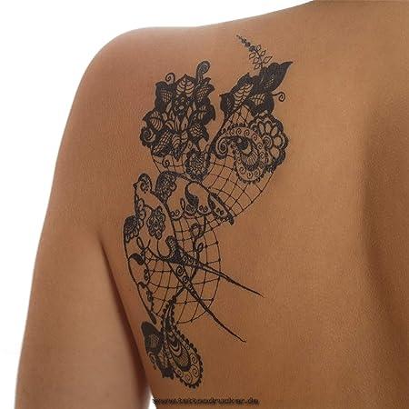 Tatuaje de pájaros Negros, Flores y Mandala, Tatuaje Temporal para ...