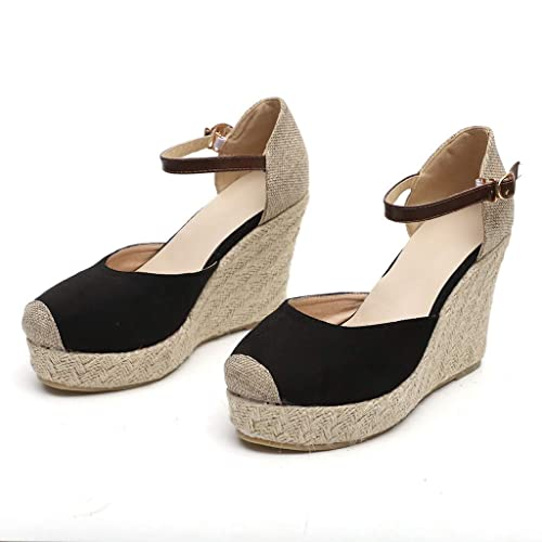 717ac6292e Vowes Women's Fashion Wedges Sandals Casual Round Toe Buckle Strap Flat Sole  High Heel Thick Bottom