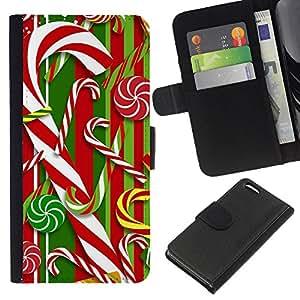 A-type (Cane Red White Xmas Christmas) Colorida Impresión Funda Cuero Monedero Caja Bolsa Cubierta Caja Piel Card Slots Para Apple iPhone 5C