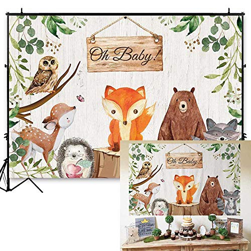 (Funnytree 7x5ft Durable Fabric Woodland Baby Shower Backdrop No Wrinkles Safari Jungle Animals Photography Background Rustic Wood Forest Birthday Party Cake Table Decorations Banner Photo Booth Props )