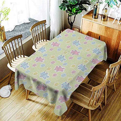 XXANS Waterproof Table Cover,Nursery,Baby Toy Drawing Pattern with Soft Colored Teddy Bears and Wildflowers,Dinner Picnic Table Cloth Home Decoration,W60X102L Pale Green Pink Blue ()
