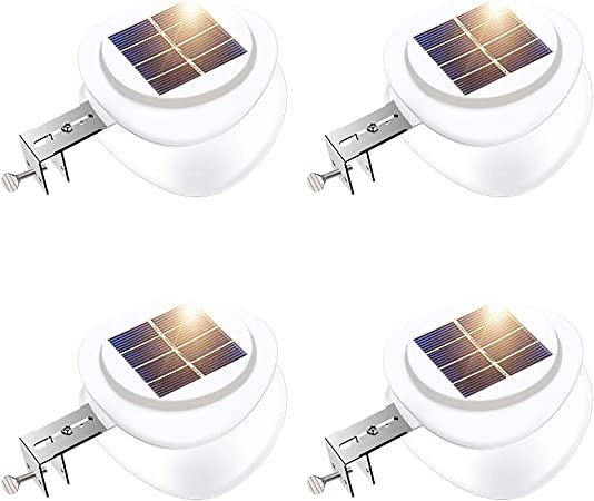 Solar Power Fence Lamp UFO Shape 9 LED Gutter Lighting Solar Panel Light Supe EL