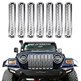 #4: Hooke Road Silver Chrome Front Grille Mesh Inserts for 1997-2006 Jeep Wrangler TJ & Unlimited (Pack of 7)
