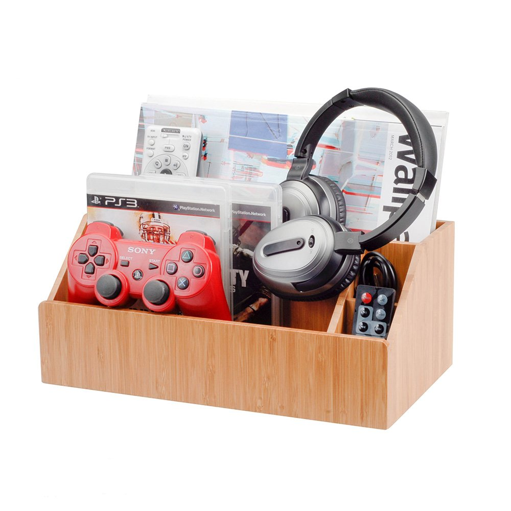 MobileVision Bamboo Media Storage Organizer Holder for Remote Controls, Video Games, Audio Accessories, Small Electronics Caddy & Office Organizer