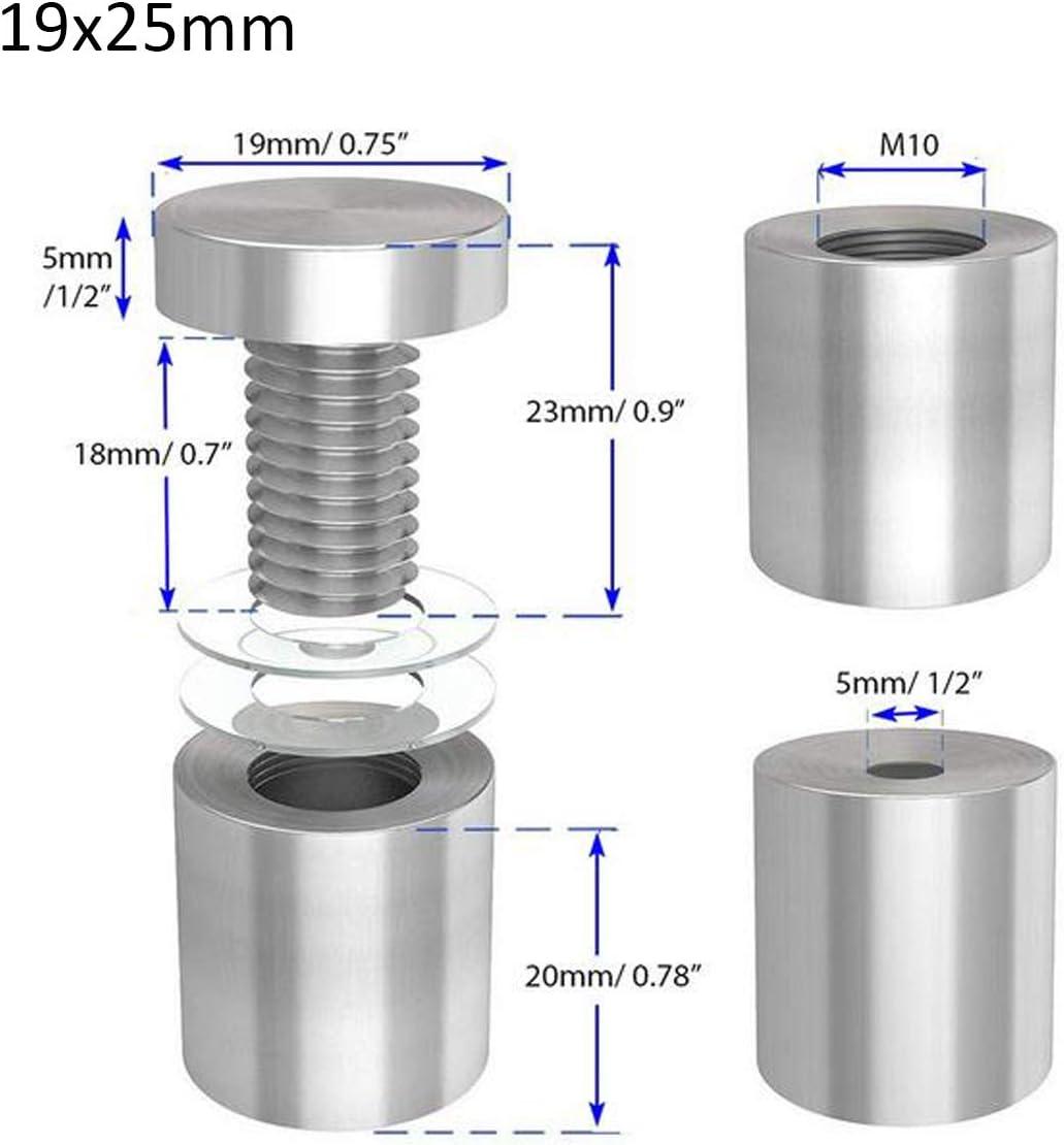 25 mm Fixation Panneau Vis Matériel Publicité verre Standoff Pin Attaches