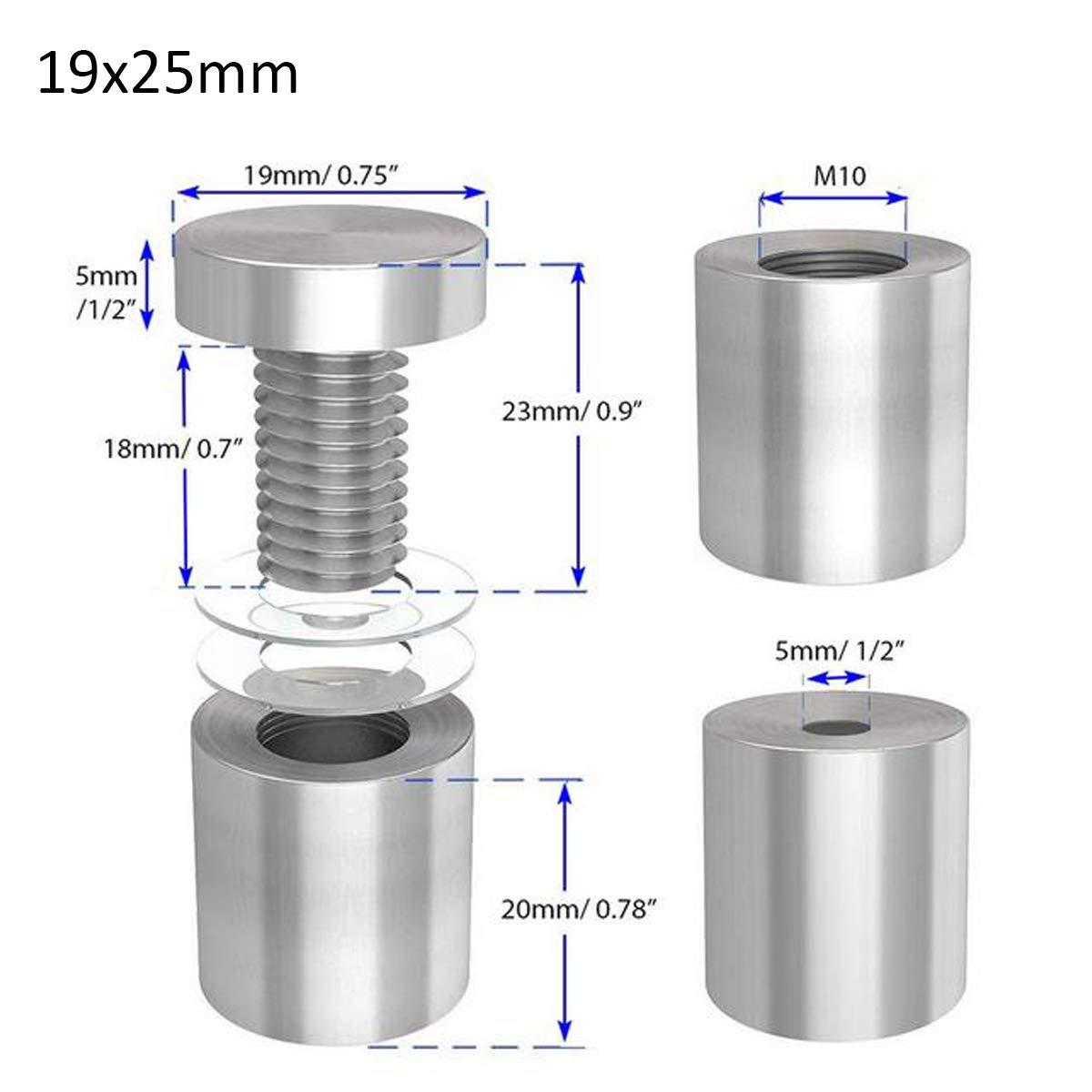 12 x 20mm 16 x 20mm 19 x 25mm Glas Abstandshalter,Zuzer 30pcs Edelstahl Abstandschrauben Wandabstandshalter Werbung Schraube