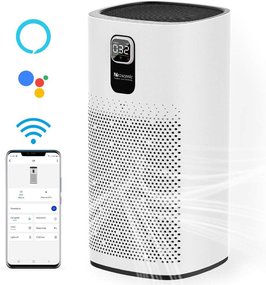 proscenic A9 Purificador de Aire con Filtro HEPA, Alexa y App Control Inteligente, Purificador Aire para Alergias, Olor de Tabaco, Polen y Caspa de Mascota, hasta 90 m² y CADR de 460m³/h v