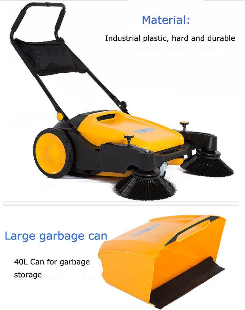 TECHTONGDA 39.5'' Width Triple Brush Walk-Behind Sweeper Push Power Sweeper Pavement Sweeper Portable Cleaner Hard Rubber by TECHTONGDA (Image #1)