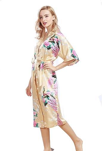 Pijama Mujer Verano Sexy Lencería Kimono Largo Pavo de satén ...
