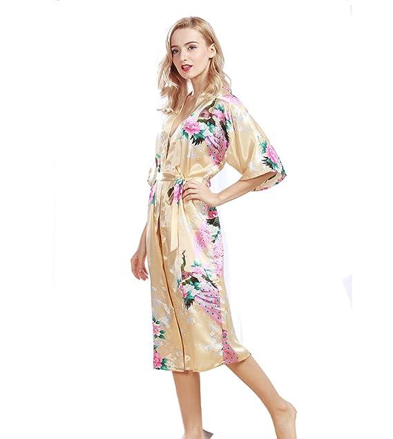 Pijama Mujer Verano Sexy Lencería Kimono Largo Pavo de Satén y Estampado Floral para Mujer: Amazon.es: Ropa y accesorios