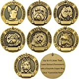 Vcalabashor Personalized Dog Tags/Bronze Classic Customized Pet Tags/Adorable Dog Head Portrait Print/Medium Breeds