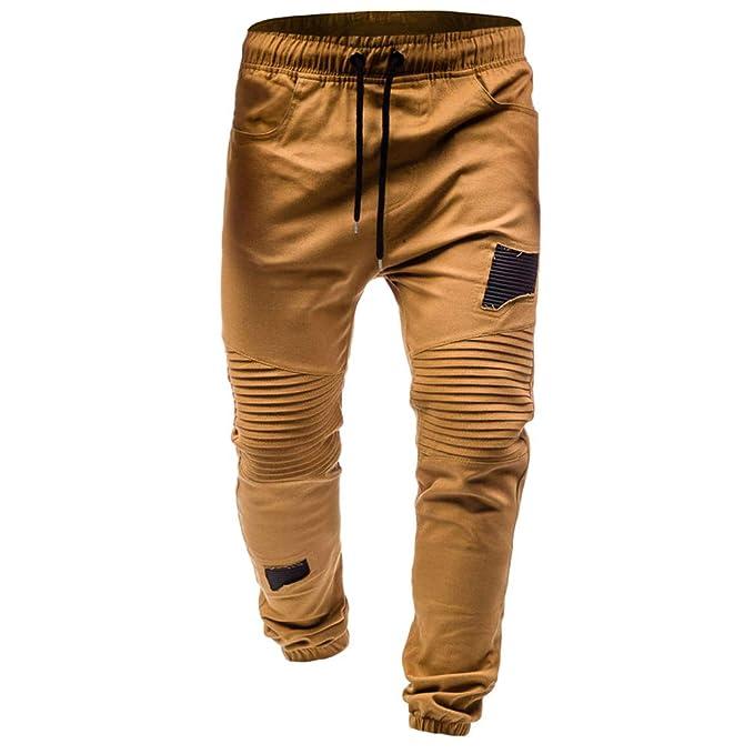 Cayuan Pantalones Jogging Hombres Ripeado Pantalone Chinos de ...