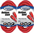 Coleman Cable 02407 14/3 SJTW Vinyl Outdoor Extension Cord, Red, 25-Foot