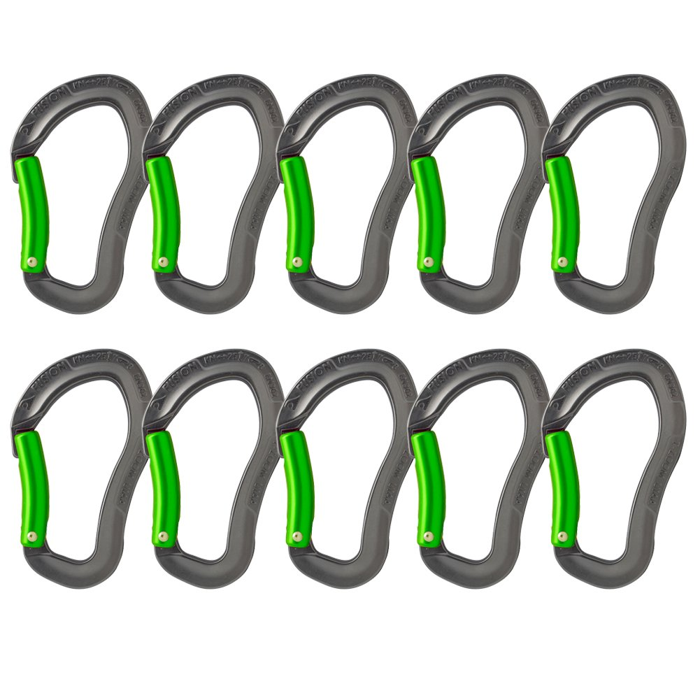Fusion Climb Techno Zoom Bent Gate Ergonomic Carabiner Gray/Green 10-Pack