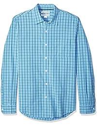 Men's Slim-Fit Long-Sleeve Plaid Shirt