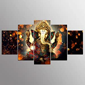 Canvas Painting Wall Art Home,Decor for Living Room HD Prints 5 Pieces Elephant Trunk God Poster Ganesha,Pictures No Frame 40x60 40x80 40x100cm