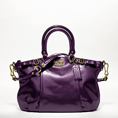 Coach Madison Patent Leather Purse Plum Purple: Handbags: Amazon.com