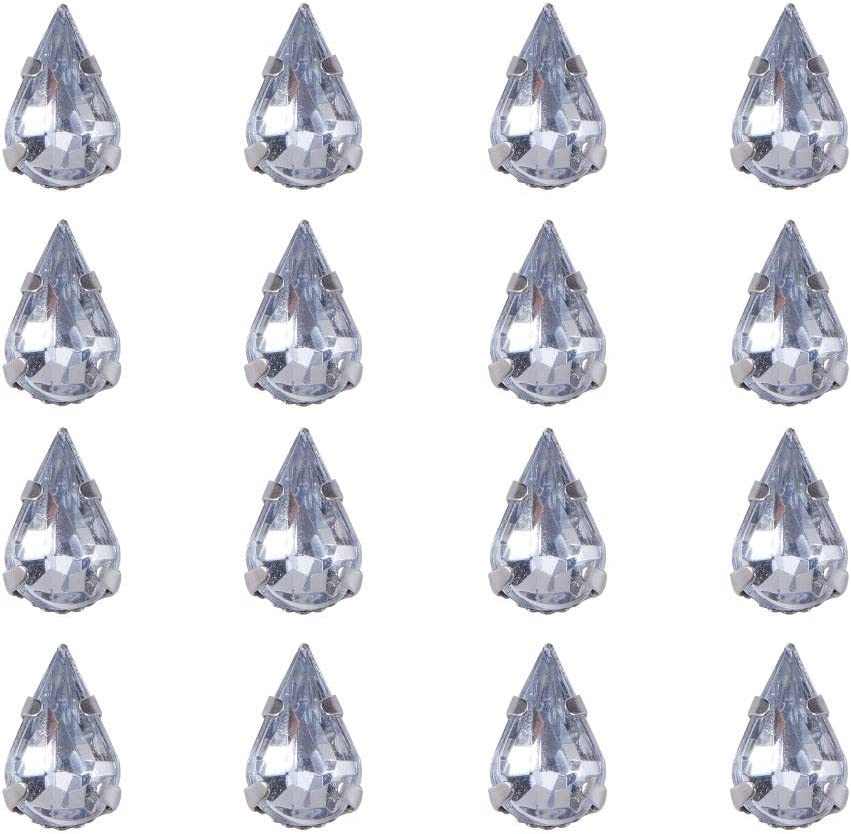 10x6x5mm Hole: 1mm Platinum Metal Color PandaHall 50pcs Clear Teardrop Shape Sew on//Glue on Acrylic Rhinestone Montee Beads with Brass Findings