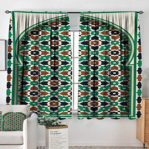 Elliot Dorothy White Curtains Moroccan,Middle Eastern Style Moroccan Door Arch with Medieval Floral Details Retro,Green and Brown,Decorative Curtains for Living Room and Bedroom 42