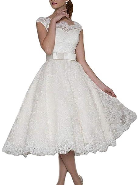 Vestido de Novia Vestido de Novia Mujer Corto Encaje A línea ...