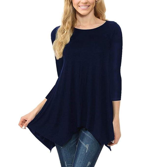 keepwin-blusa Nuevo Estilo! La Mujer Camiseta Manga Largo Blusa Cuello En V Csasual Elástico Estilo Cómodo: Amazon.es: Ropa y accesorios