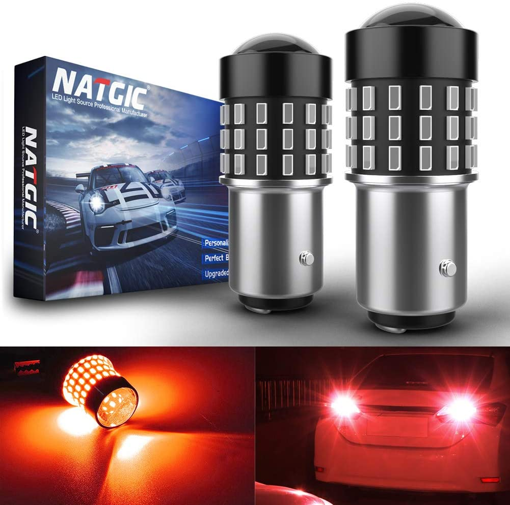 NATGIC 1157 BAY15D p21/5w 7528 Bombillas Chipsets 3014SMD 54-EX con proyector de lentes para luces traseras Luces de freno, rojo 12-24 V (paquete de 2)
