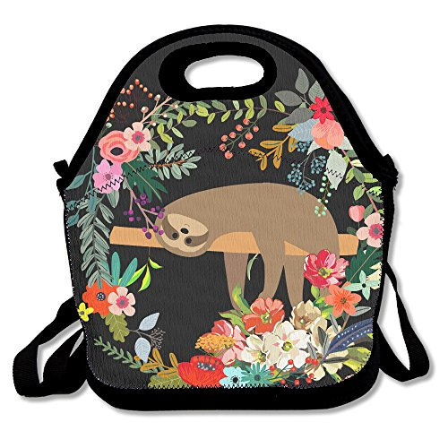 Price comparison product image Cute Sloth Lying On Tree With Vintage Flower Waterproof Lunch Tote Bag Insulated Reusable Picnic Lunch Boxes For Men Women Kids