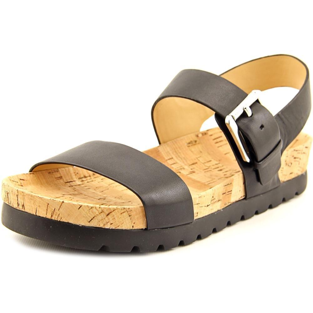 MICHAEL Michael Kors Womens Judie Sandal Black Leather/Cork 6 M by Michael Kors
