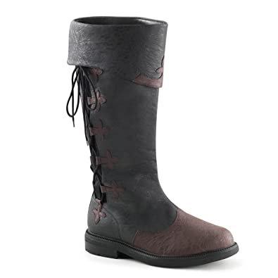 ed564a2e09 Men Distressed Black and Brown Pull On Knee High Pirate Boots with Lace Up  Side Size