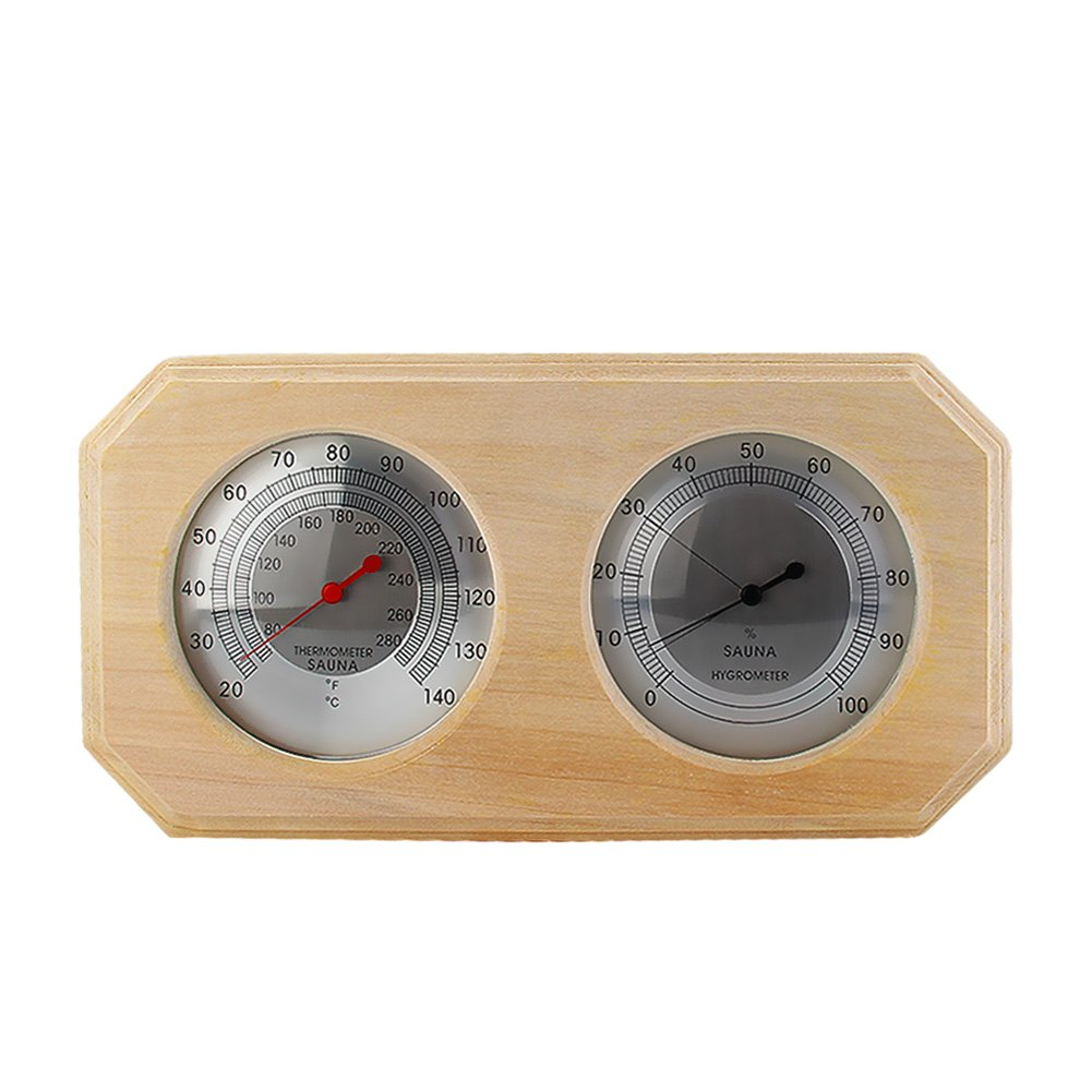 Eleoption Wooden Sauna Hygrothermograph Thermometer Hygrometer Sauna Room Accessory (Square) (A)