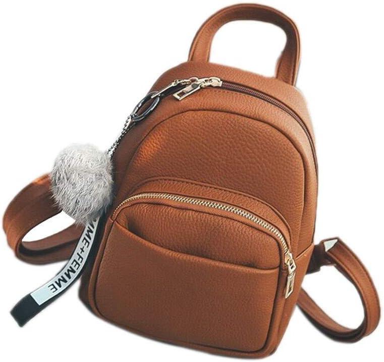 Mochila de Moda PU Mochila de Cuero Mini Estudiante Fuzzy Ball Colgante Bolso de Hombro Bolso Femenino Suave Bolso de Viaje pequeño de Moda Femenina Mochila 18x9x24cm marrón