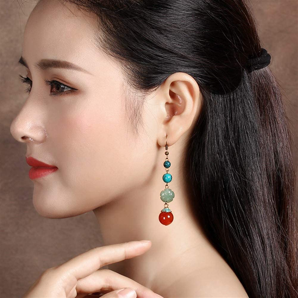 NOLOGO Personalidad Estilo Salvaje Nacional del Estilo Antiguo de Las Mujeres Pendientes de ágata roja Jade Retro Pendientes Temperamento Largo Temperamento (Color : 925 Silver Gold-Plated Ear Hooks)